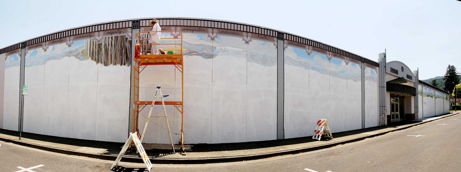 My monumental Mendocino Couny history mural takes shape!