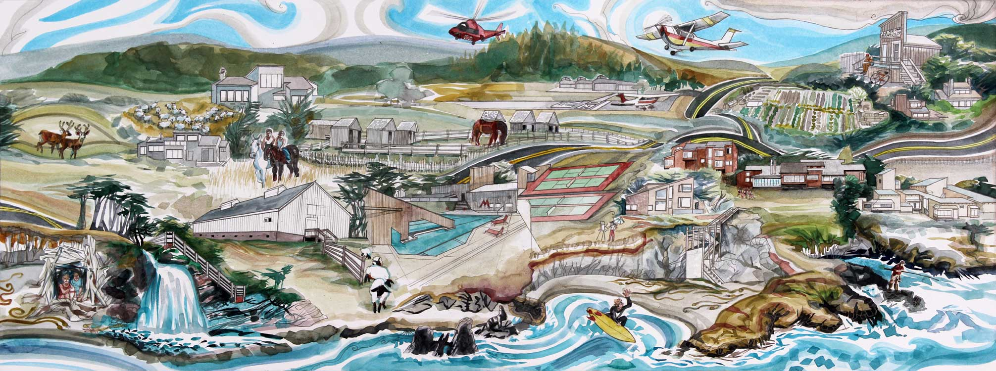 The Sea Ranch, right panel, depicting the southern half of the development